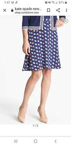 Kate Spade New York Womens Holland Silk Skirt Size 14  L Blue Polka Dot Lined
