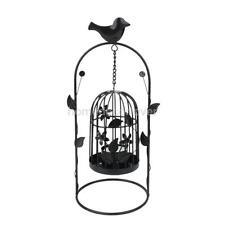 Arch Door Birdcage Hanging Stand Candle Holder Tea Light Candlestick Black