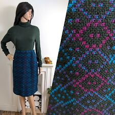 Vintage 60s Turquoise Pink Welsh Tapestry Wool Geo Pencil Skirt Mod 10 38