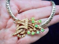Authentic Vintage 1950's Gold Tone Herringbone Spray Flower Seed Pearl Necklace