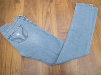 HOLLISTER RIPPED WOMENS BUTTON FLY DENIM BLUE FADED JEANS SIZE UK6 W25 L29