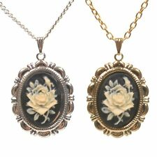 Black Rose Cameo Vintage Style Charm Pendant Necklace New Victorian Gold/Silver