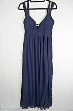 Variety Women Navy Blue Maxi Dress Size L 12-14 Prom Cruise Evening Occasion