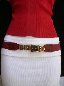 SEXY WOMEN ELASTIC HIP HIGH WAIST NARROW STYLISH RED BELT LONG SILVER BUCKLE S M