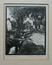 Charles E. Flower, wood-engraved print signed in pencil of Warborough (Oxon)
