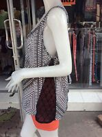 Women's  Multicolour Irregular Print Casual Top Blouse One Size 12-14