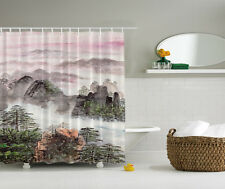 Asian Mountains Pink Gray Tree Sunset Fabric Shower Curtain Digital Art Bathroom