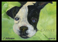 Puppy Love ~ ORIGINAL OIL PAINTING Boston Terrier Dog Pup ACEO Miniature SIGNED