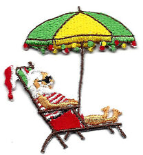 SANTA ON BEACH CHAIR - CHRISTMAS - XMAS LIGHTS -  Iron On Embroidered Patch