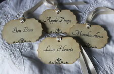 SWEET LABELS-Candy Bar-Buffet-Cart-Tags-Wedding-Vintage Style-Personalised-FAB