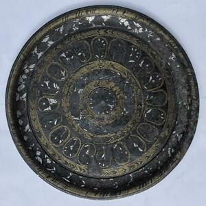 A/F INDIAN DECCAN BIDRI SILVER & BRASS INLAY DISH 18TH CENTURY