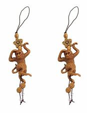 2 Brown Monkeys with Star Flower Cell Phone Good Luck Charm Strap Accessory Gift