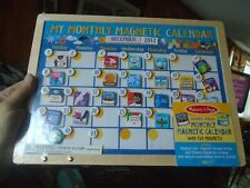 NEW Melissa & Doug Monthly Magnetic Calendar with 134 Magnets Wooden Hinged