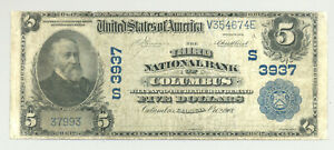 Georgia National Banknote $5 Series 1902 Columbus #3937 nice and no reserve!