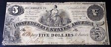 1861 $5 DOLLAR  CONFEDERATE STATES CURRENCY