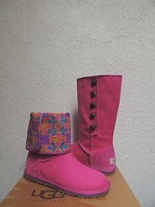 UGG LO PRO MARRAKECH PINK CANVAS/ WOOL BUTTON BOOTS, WOMEN US 6/ EUR 37 ~NIB