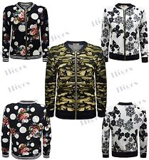 Womens Bomber Jacket Printed Blazer Long Sleeve Casual Short Outerwear new