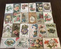 ~Lot of 25~ Pretty ~Flowers & Scenes~Vintage Floral Greetings Postcards-h233