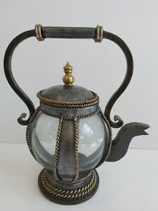 Collectable Vintage Persian Style Glass & Pewter Effect Ornamental Teapot S15