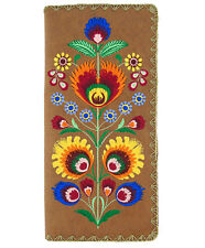 LAVISHY POLISH FLOWER EMBROIDER LARGE WALLET VEGAN FAUX LEATHER NEW (97-181Brn)
