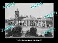 OLD LARGE HISTORIC PHOTO OF ALBURY NSW, VIEW OF THE RAILWAY STATION c1890