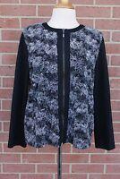 Women's Alfred Dunner Faux Fur Jacket Black/Gray Size Petite 14