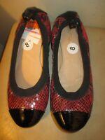 Boutique 9 Black & Red Snake Print Cap toe Ballet Flats Shoes Size 8M