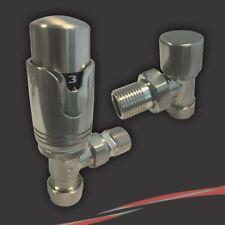 Angle brossé Nickel thermostatique radiateur ou porte-serviettes vannes (paire)