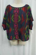 Denim & Supply by Ralph Lauren Knit Top Sz M Blue Multi Southwestern Caftan Top