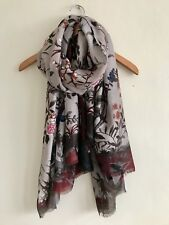 LADIES BEAUTIFUL BEIGE MULTI FLORAL SCARF MEDIUM WEIGHT OVERSIZED SCARF NEW IN
