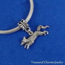 Silver Running FOX Dangle Bead CHARM fits EUROPEAN Bracelet *NEW*