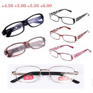 Reading Glasses Metal Plastic Frame Highly Presbyopia Lenses +4.5 +5.0 +5.5 +6.0