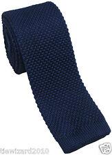 Designer Navy Silk Knitted Skinny Tie 5 cm Blade Width