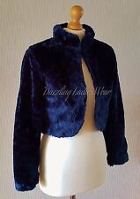 Dark Blue Faux Fur Bolero Long Sleeve Jacket/Shrug/Stole/Wrap/Shawl Satin Lined