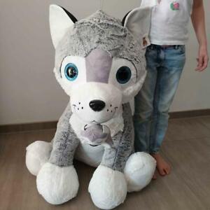 Großer Plüsch Husky Hund mit Welpe XL 80cm Stofftier Riesen Kuscheltier Neu