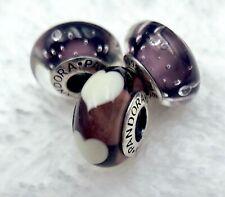 3 Pandora Murano Silver Charm White Heart & Bubble in Night Sky Glass Beads