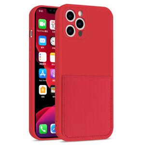 For iPhone 12 Mini 11 Pro X XS Max XR 8 SE Liquid Silicone Card Slot Case Cover
