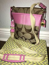COACH SIGNATURE C LUREX STRIPE SWING PACK CROSSBODY PURSE Pink and Khaki 41207