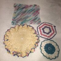 Vintage Mid Century Hand Crocheted Doilies Lot of 4 Blue Pink Purples Pastels