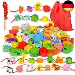 Montessori Spielzeug ab 2 3 4 Jahre Mädchen Jungen,Holzspielzeug Fädelspiel G