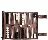 SONDERGUT - Backgammon - Travel Backgammon Set - Genuine Leather - Colour Mocca