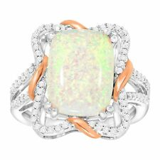Created Opal & White Sapphire Ribbon Ring, 14K Rose Gold-Plated Sterling Silver