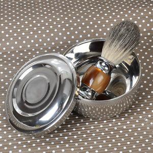 Resin Badger Wet Shaving Brush+ Stainless Steel Metal Mug Bowl Set Barber Men