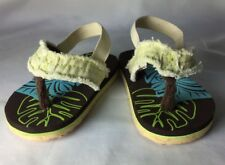 "Baby Thong Flip Flops with Strap Summer Shoes Sandals 4-2/4"" Long Size 3 Distres"