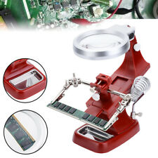 Soldering Helping Hand Magnifier Soldering Iron Holder Station Stand Lens LED #