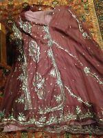 Vintage Burgundy Silk Indian Long Chiffon Vintage Gold Embroidered Maxi Skirt