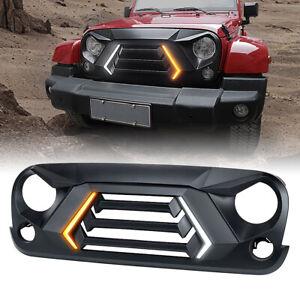 Xprite Matte Black Grille w Turn Signal Running Light for 07-18 Jeep Wrangler JK