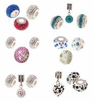 925 sterling silver crystal pave ball SHAMBALLA CHARM BEAD sets - choose colours