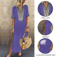 Women Summer Boho Short Sleeve Fashion Kaftan Maxi Dress Loose Floral Long Dress