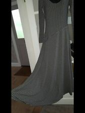 LONG BLACK WHITE GREY STRIPED STRETCHY BODY CON WIGGLE MAXI DRESS SIZE 8 TALL